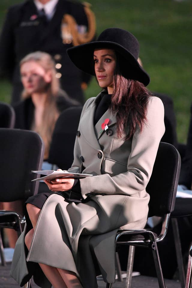 Ms Markle looked emotional as the hymn Abide With Me was sung (Toby Melville/PA)