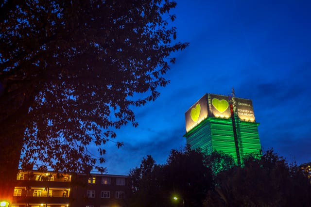 The Grenfell Tower in west London (Steve Parsons/PA)