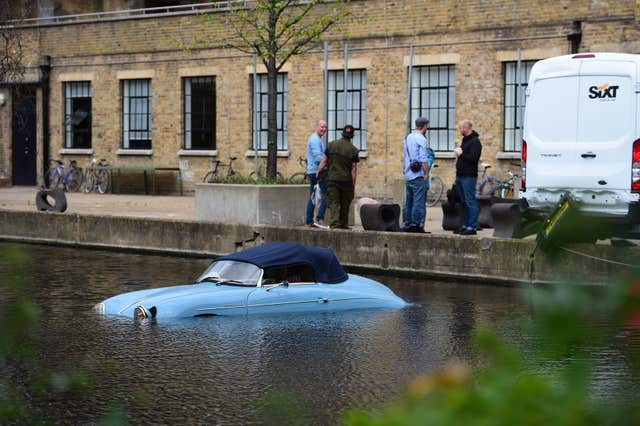 Car in London canal