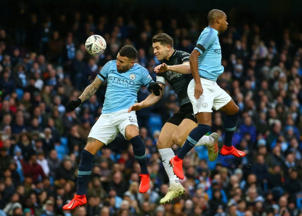Manchester City's makeshift centre-back pairing of Nicolas Otamendi (left) and Fernandinho (need a commanding performance