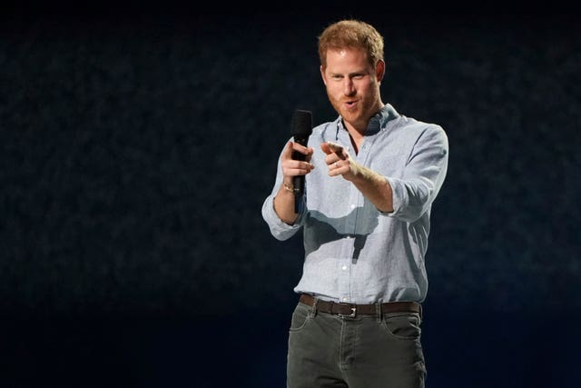 The Duke of Sussex at Vax Live: The Concert To Reunite The World at SoFi Stadium in Inglewood, California