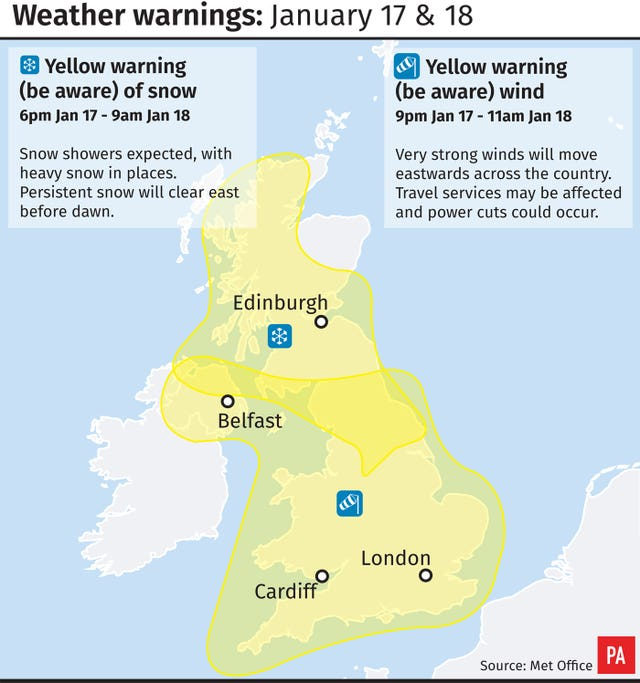 Weather warnings for January 17 and 18 (PA Graphics)