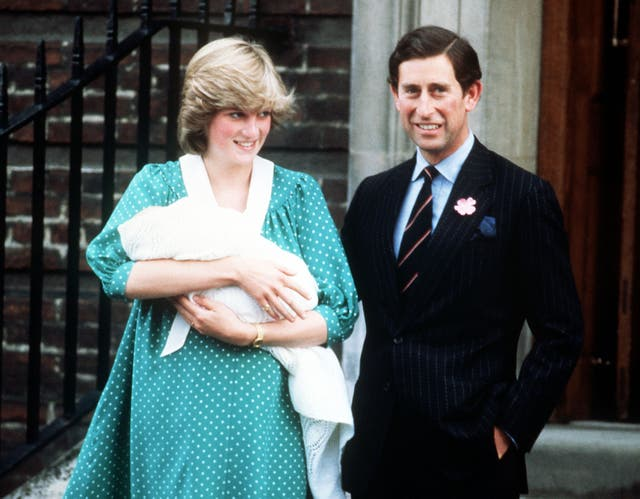 Prince William's debut outside the Lindo Wing with his parents the Prince and Princess of Wales (PA)