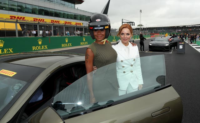 Mel B and Geri Horner at Silverstone