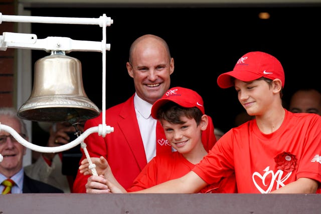 Andrew Strauss, left, with sons Luca and Sam at Lord's