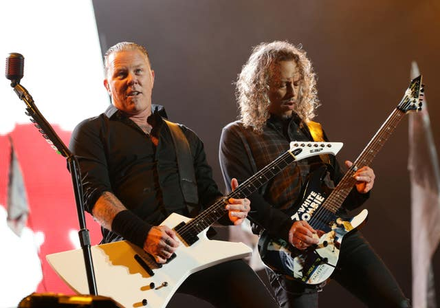 James Hetfield and Kirk Hammett of Metallica (Yui Mok/PA)