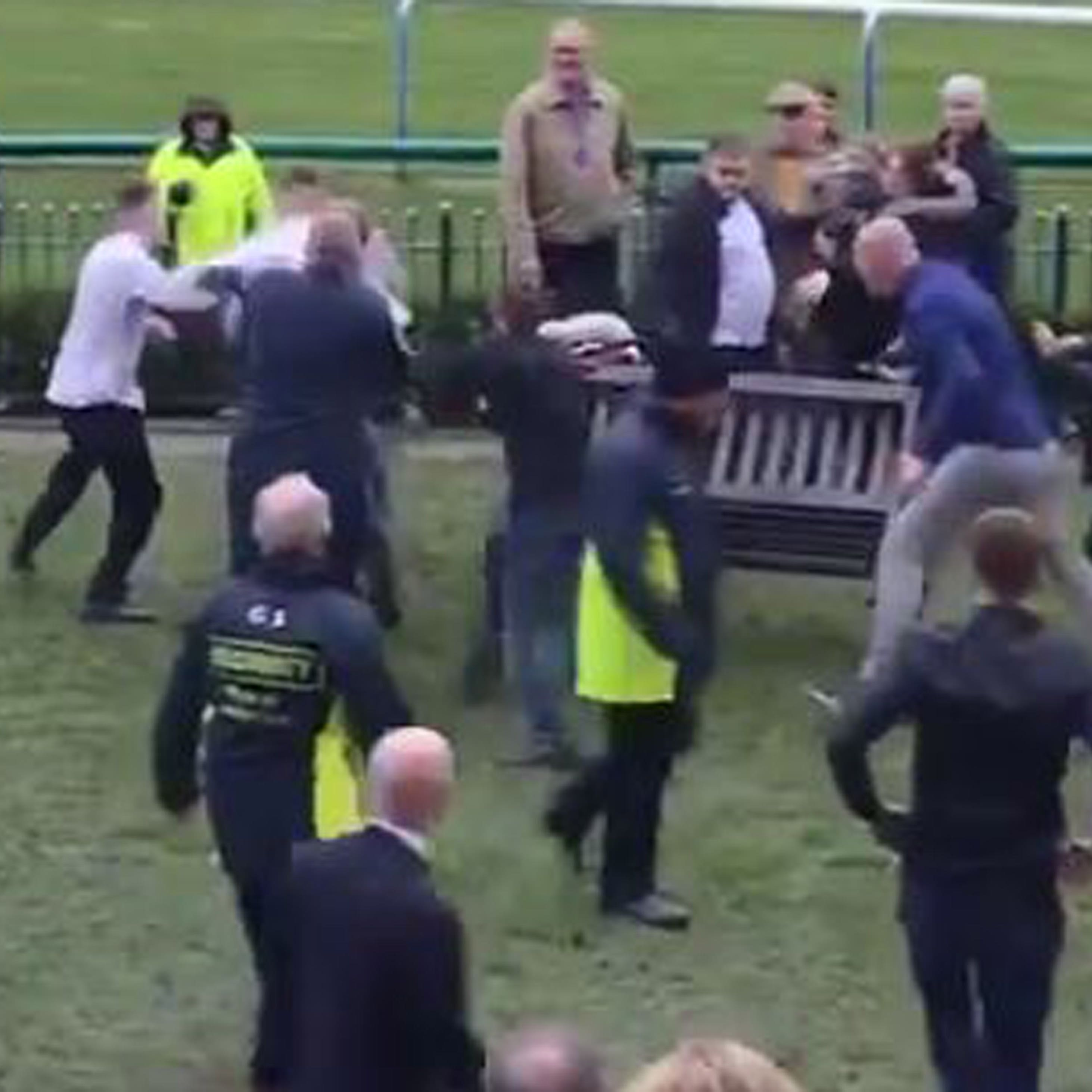 Innocent bystanders watch on as fight takes place at Haydock
