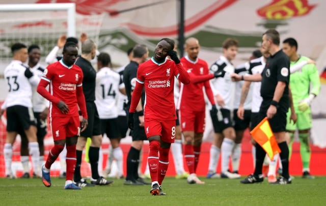Liverpool players are dejected at full-time
