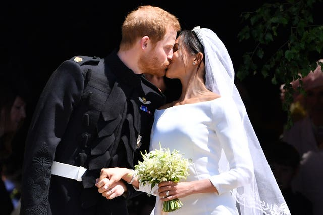 Harry and Meghan kiss after their wedding ceremony (Ben Stansall/PA)