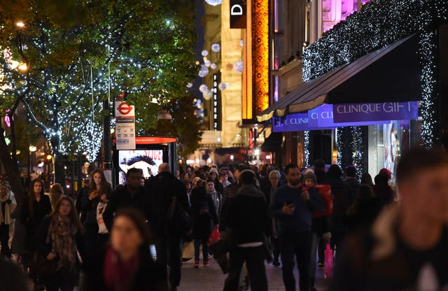 Christmas shoppers on Oxford Street in London.