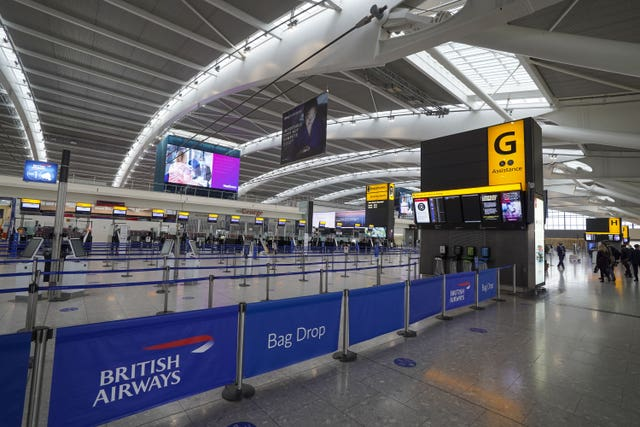 The departures area in Terminal 5 at Heathrow Airport