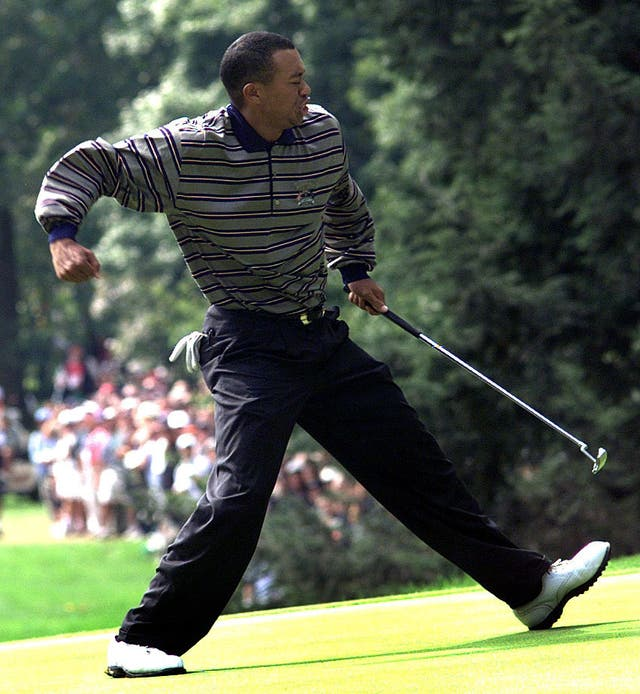 Woods celebrates an eagle putt at the 1999 Ryder Cup