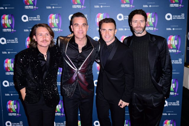 Mark Owen, Robbie Williams, Gary Barlow and Howard Donald at the gala night for Take That's The Band musical