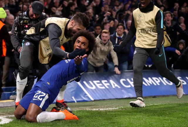 Chelsea's Willian celebrates scoring his side's first goal of the game (Adam Davy/PA)