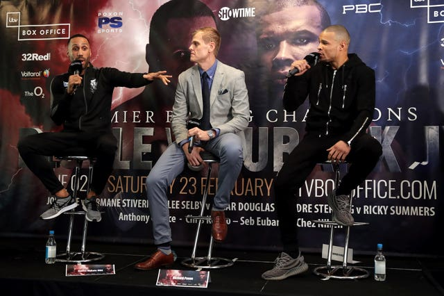James DeGale, left, and Chris Eubank Jr, right, regularly interrupted each other in a heated press conference (Adam Davy/PA)