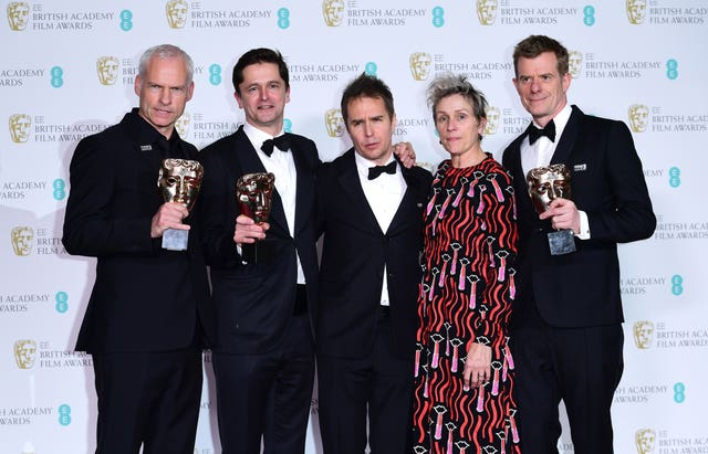 Martin Mcdonough, Pete Czernin, Sam Rockwell, Frances McDormand and Graham Broadbent celebrate the success of Three Billboards Outside Ebbing, Missouri (Ian West/PA)