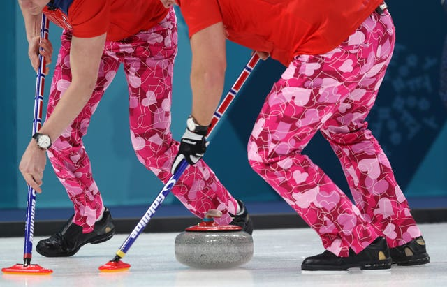 The Norwegian Men's Curling team sport Valentine's Day-themed trousers during the Men's Round Robin Session 2 match against Japan at the Gangneung Curling Centre during day five of the PyeongChang 2018 Winter Olympic Games in South Korea (David Davies/PA)