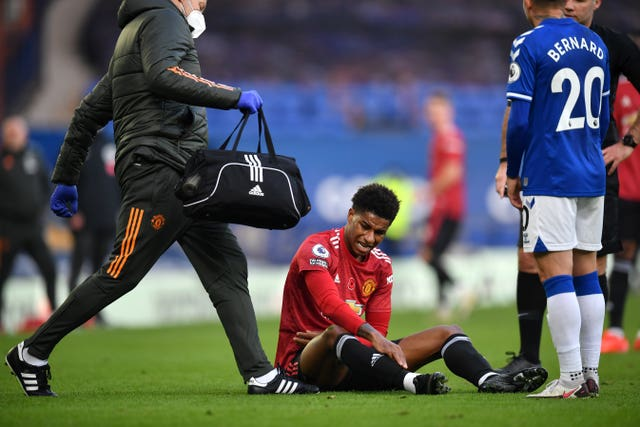 Marcus Rashford was unavailable for England due to a shoulder complaint picked up at Everton