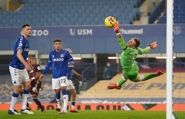 Everton goalkeeper Jordan Pickford had one of his better games against Leeds