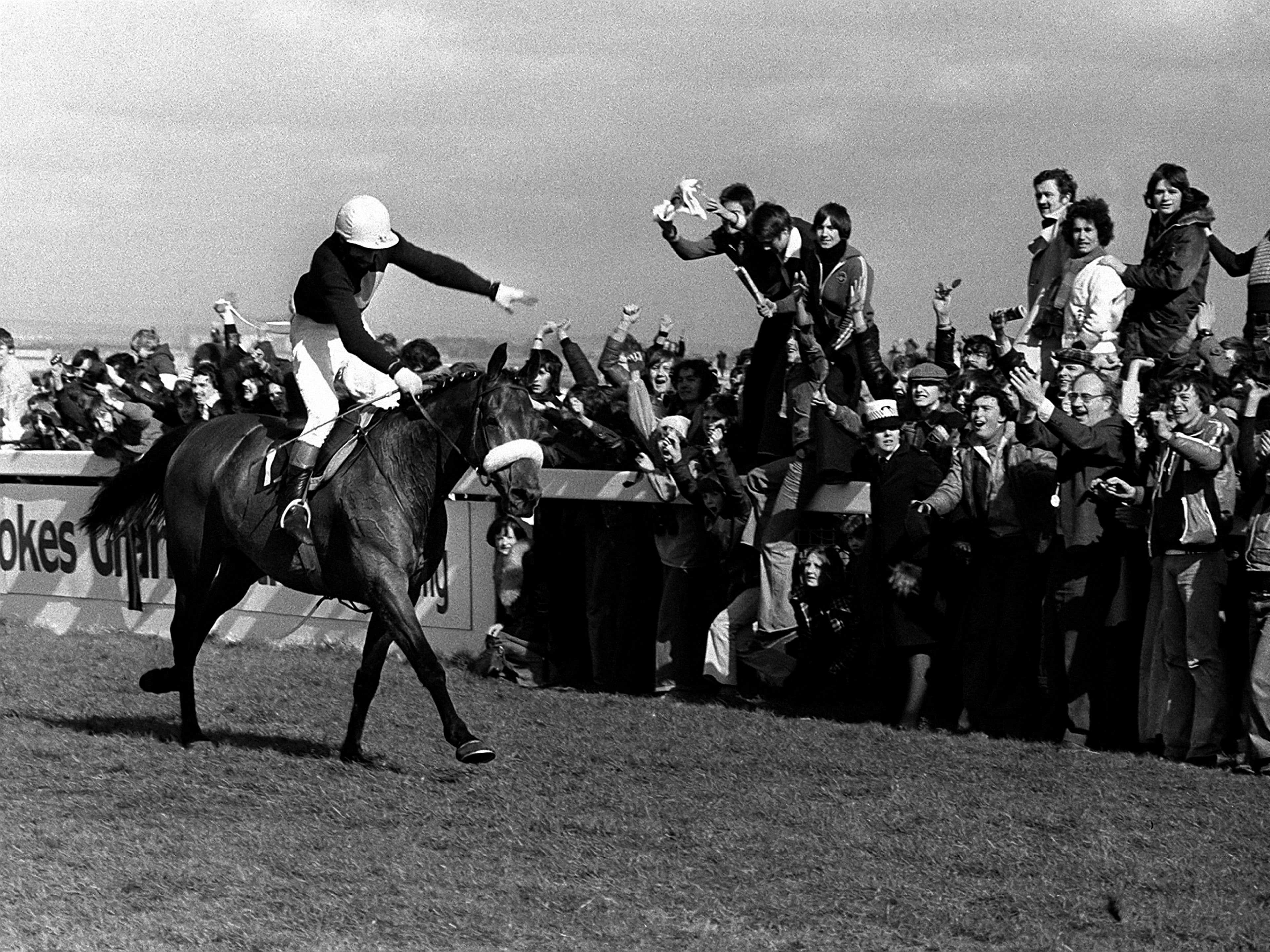 Red Rum, ridden by Tommy Stack, romps home at Aintree to make National Hunt history as winner of the Grand National for a record third time (PA)