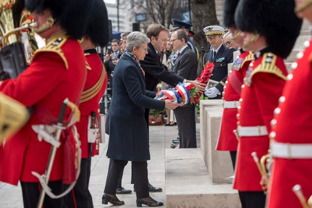 Wreaths were laid at Marshal Foch's statue in Victoria, central London (Victoria Jones/PA)