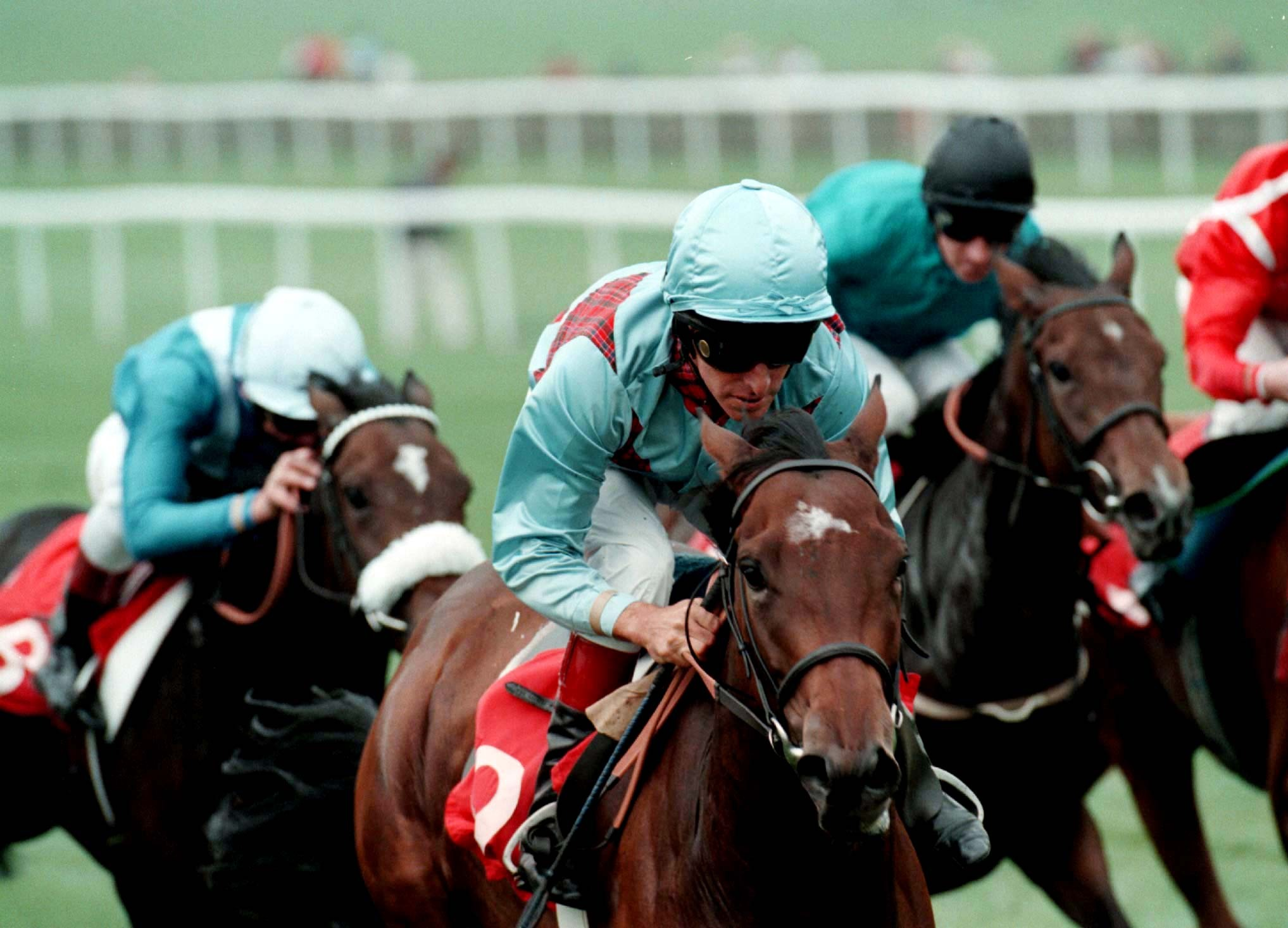 Wannabe Grand and Pat Eddery on the way to winning the Cheveley Park Stakes