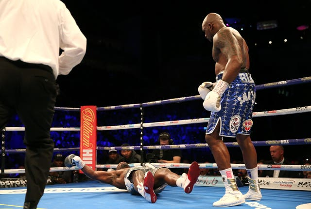 Dereck Chisora, left, is knocked out by Dillian Whyte in the 11th round