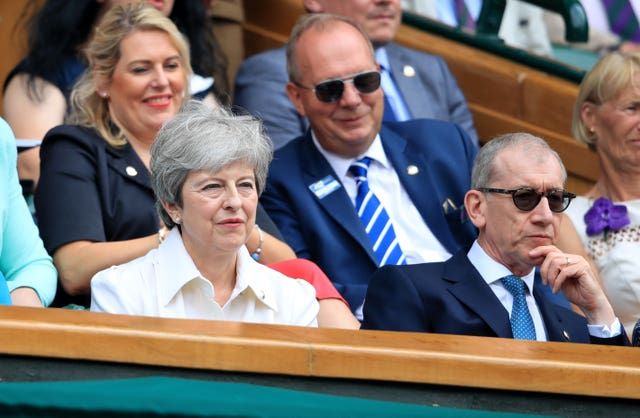 With husband Philip at Wimbledon