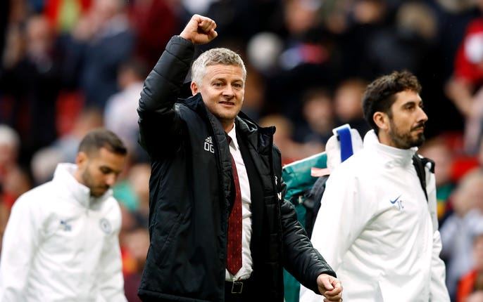 Manchester United manager Ole Gunnar Solskjaer celebrates after full-time