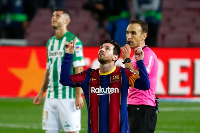 Lionel Messi scored twice for Barcelona on Saturday (Joan Monfort/AP/PA)