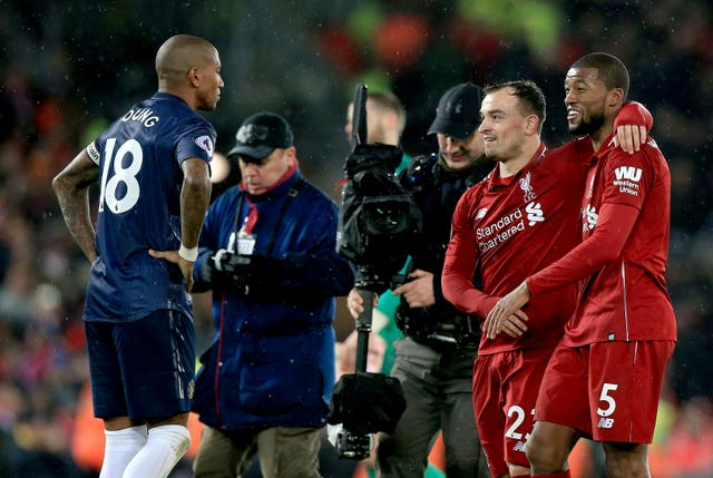 Xherdan Shaqiri (centre) scored twice off the bench as Liverpool secured a comfortable 3-1 win at home to United last season.