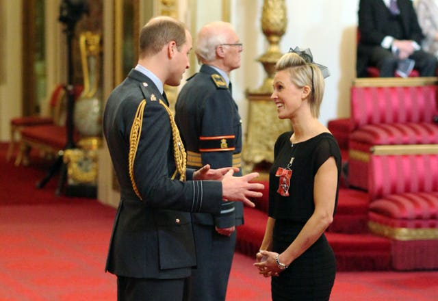Alex Danson receives an MBE from the Duke of Cambridge