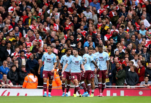 Aston Villa led twice at the Emirates