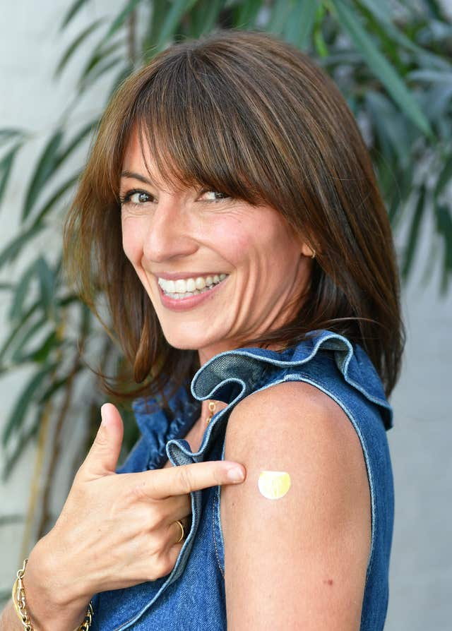 Davina McCall wears her skin patch which indicates different levels of sunburn (John Stillwell/PA)