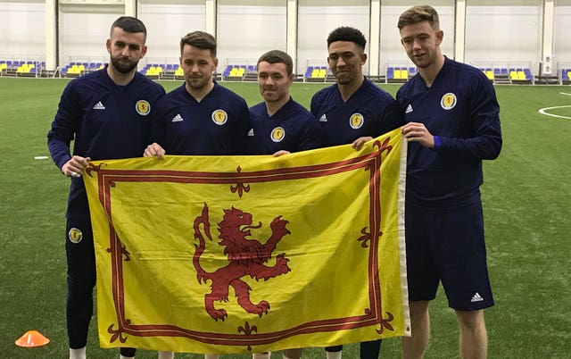 Marc McNulty (second left) is among five players looking for their first Scotland cap