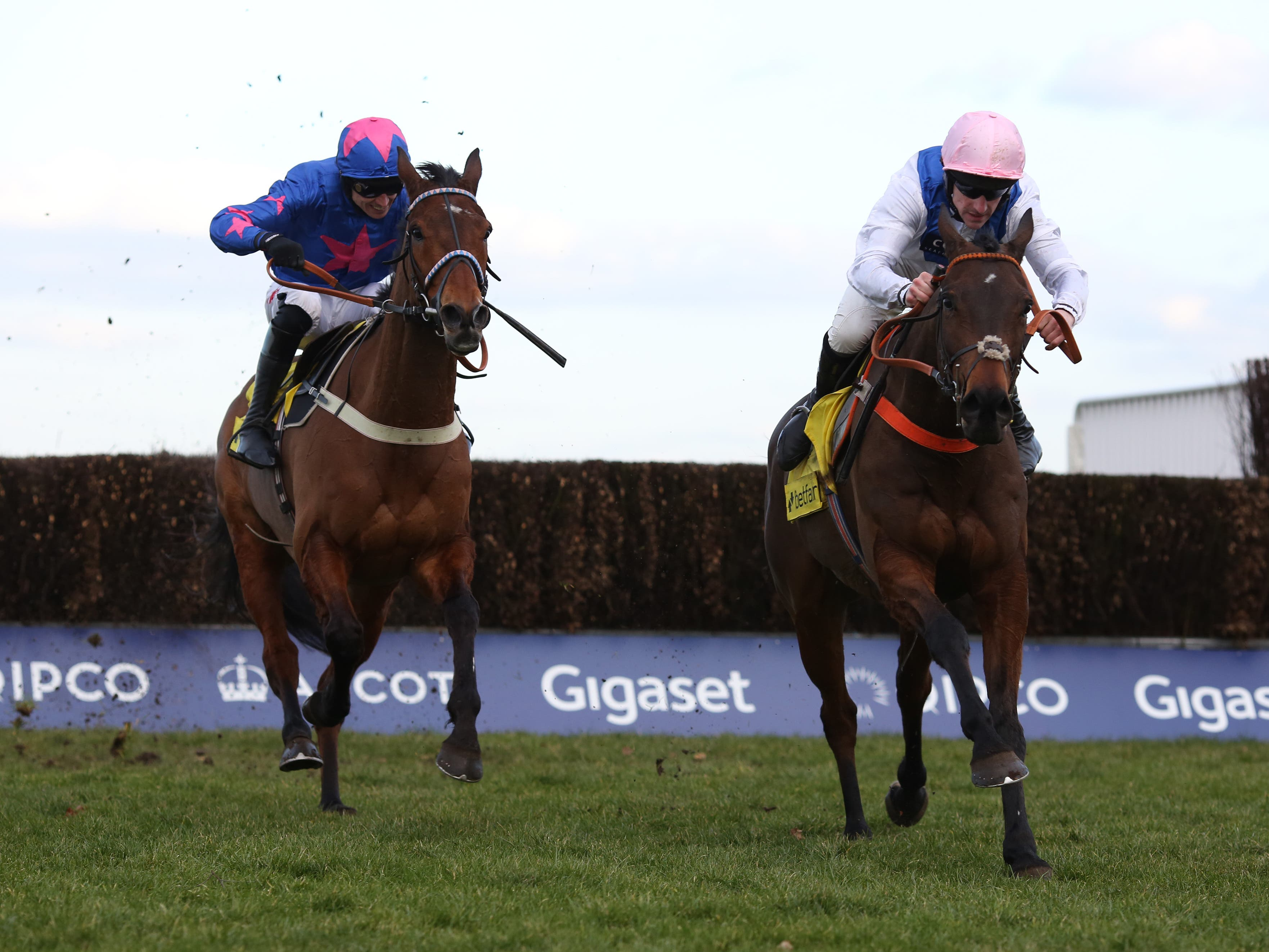 Waiting Patiently (right) sees off Cue Card to win the Ascot Chase (Julian Herbert/PA)