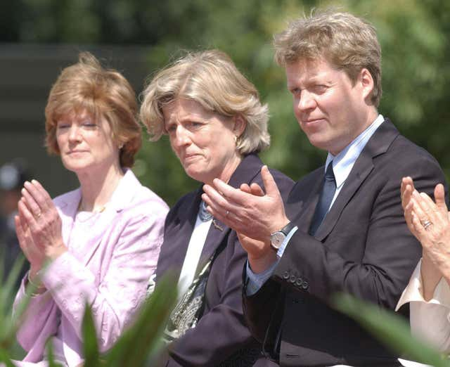 The sisters of the late Diana, Princess of Wales, Lady Sarah McCorquodale (left) and Lady Jane Fellowes and her brother Earl Spencer (PA)