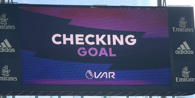 VAR checks a possible Arsenal goal against Burnley