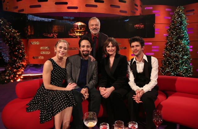 Host Graham Norton with (seated left to right) Emily Blunt, Lin-Manuel Miranda, Emily Mortimer and Ben Whishaw