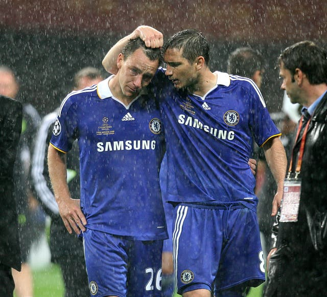 Lampard consoled team-mate John Terry after his penalty miss in Chelsea's Champions League final defeat to Manchester United in 2008