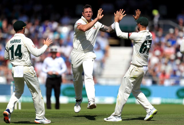 Australia's James Pattinson celebrates taking Joe Denly's wicket