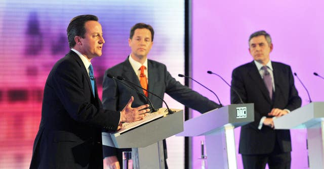 David Cameron (l to r) Nick Clegg and Gordon Brown during a 2010 debate