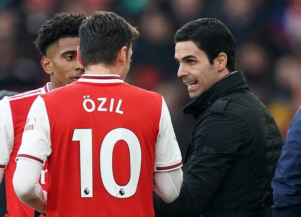 Ozil has not played under Mikel Arteta since March 7.