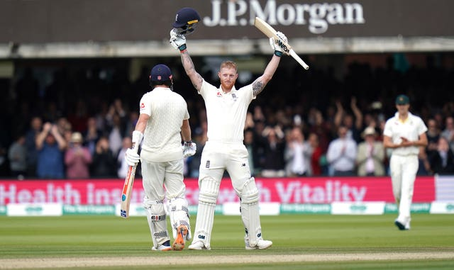 Ben Stokes celebrates reaching his century