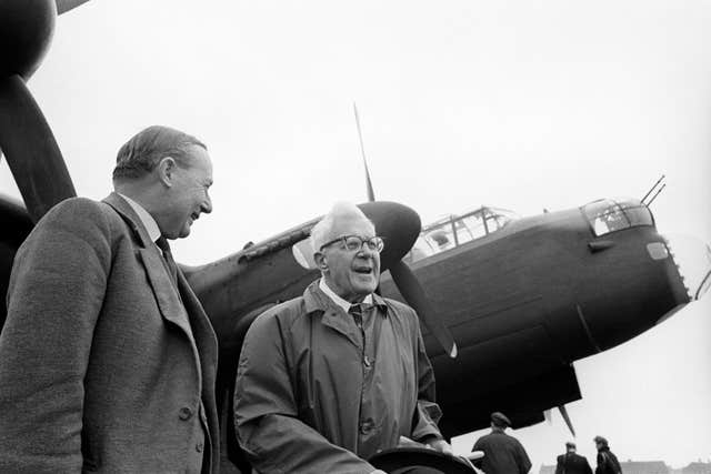 Dr Barnes Wallis (right), in 1967, inventor of the 'bouncing bomb' which was used to breach the Mohne and Eder dams in May 1943, with the former Air Chief Marshal Sir Ralph Cochrane (PA)