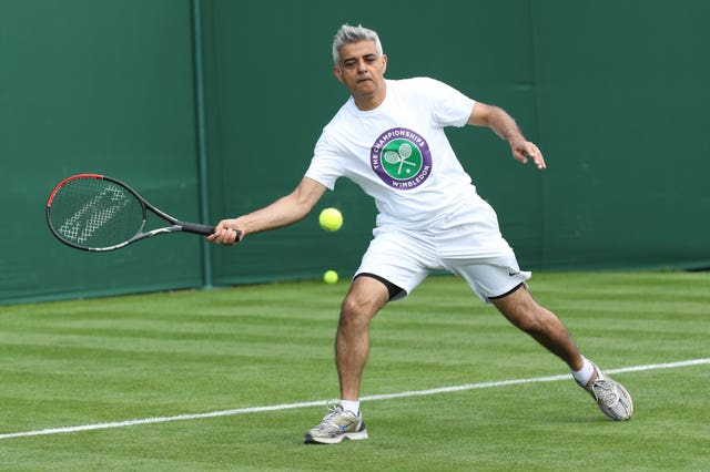 Sadiq Khan plays tennis with key workers