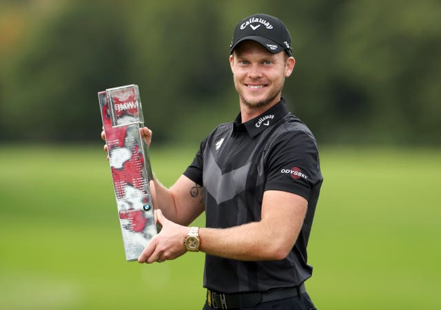 England's Danny Willett withthe BMW PGA Championship trophy