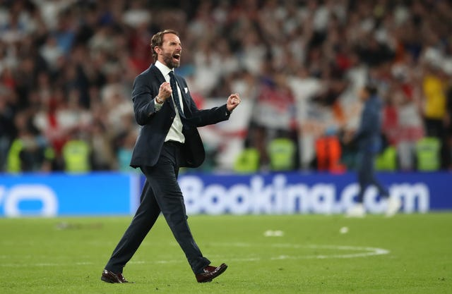 England manager Gareth Southgate celebrates reaching the final after the UEFA Euro 2020 semi final match at Wembley Stadium