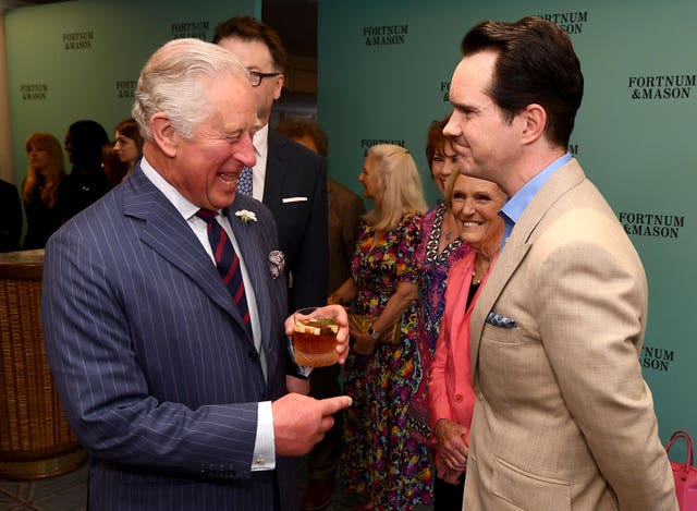 The Prince of Wales with Jimmy Carr at the annual Fortnum & Mason Food and Drink Awards