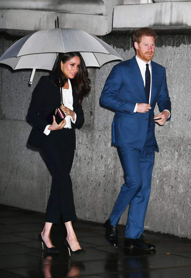 Prince Harry and Ms Markle arriving at the annual Endeavour Fund Awards at Goldsmiths' Hall in London (John Stillwell/PA)